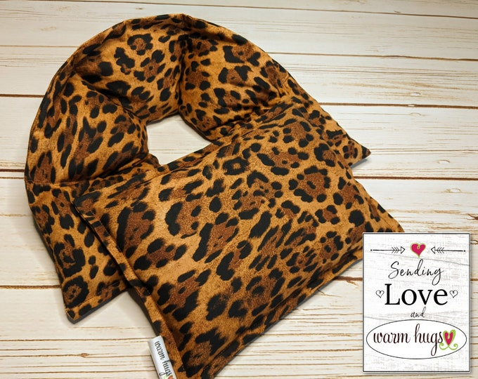 Warm Hugs Heated Neck Wrap Small Heat Pack Gift Set, Microwave Corn Bag, Neck Warmer, Neck Pain Relief, Self Care Package, Leopard Print