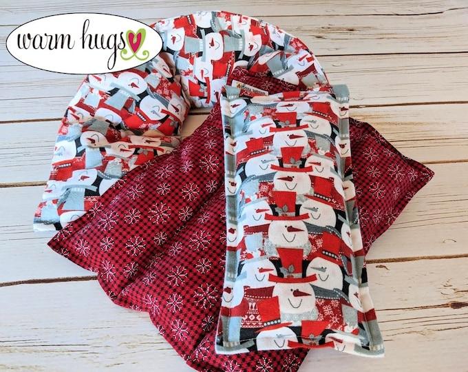 Warm Hugs Snowman Corn Bag Gift Set, Microwave Heat Packs, Warm Hugs Care Package, Christmas Gift Idea, Neck Pain Relief, Hostess