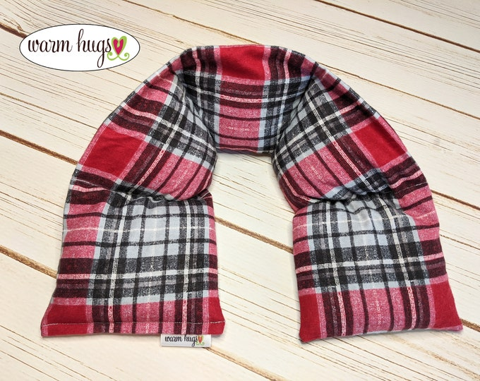 Flannel Neck Heating Pad, Heated Neck Wrap, Relaxation Gift, Corn Bag, Heat Pack, Boyfriend Gift, Dorm Room, Dad Gift