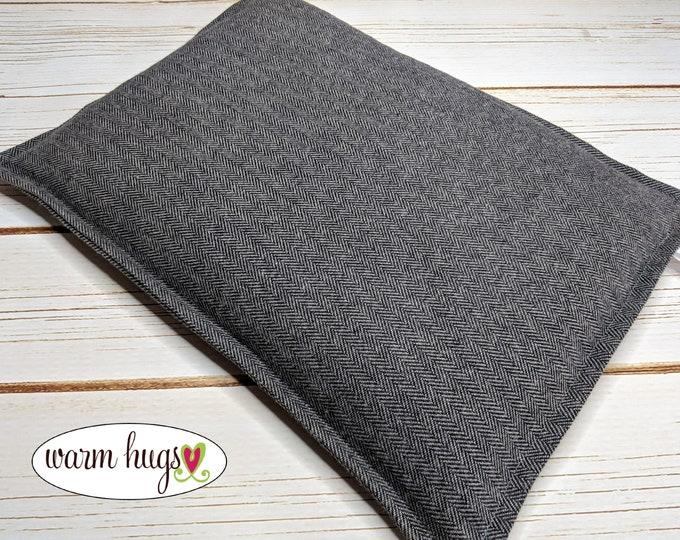 Warm Hugs Flannel Large Corn Bag, Microwave Heating Pad, Corn Heat Packs, Relaxation Gift, Ice Pack, Gray Herringbone, Bed Warmer, Dorm Room