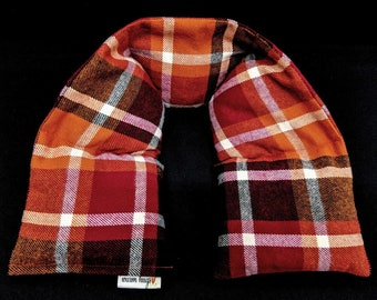 Warm Hugs Plaid Flannel Neck Heating Pad, Heated Neck Wrap, Microwave Heat Pack, Corn Bag, Hot Cold Therapy, Stress Relief, Neck Pain