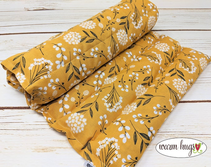 Warm Hug Lumbar Heating Pad, Microwave Corn Bag, Heat Pack, Relaxation, Muscle Aches, Heat Massage, Cramps Back Pain, Golden Yellow Floral
