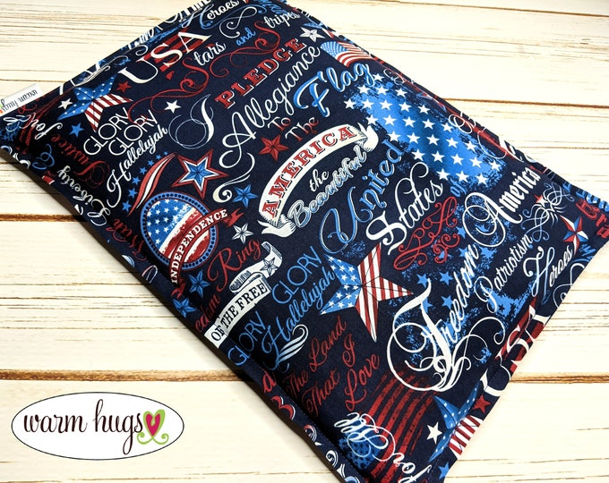 Microwave Corn Bags, Heat Pack, Corn Heating Pad, Relaxation Gift, Bed Warmer, Muscle Pain, Dorm Room Gift, USA Flag Patriotic Corn Bag