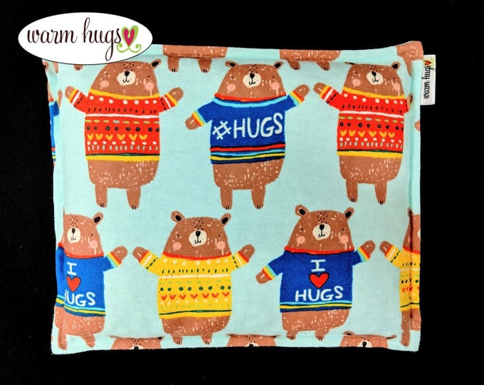 Warm Hugs Flannel Corn Bags, Corn Heating Pad 9 x 11, Microwavable Heat Pack, Relaxation Gift, Comfort Pillow, Hot Cold Packs, Pain Relief