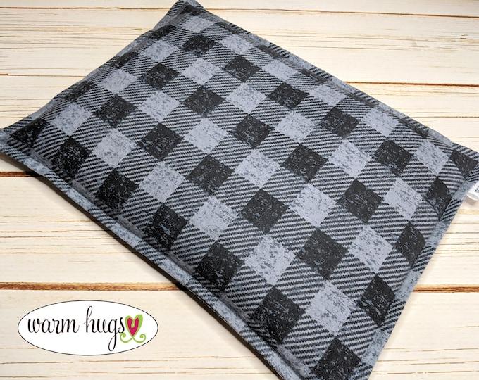 Warm Hugs Flannel Large Corn Bag, Microwave Heating Pad, Corn Heat Packs, Relaxation Gift, Ice Pack, Buffalo Check, Bed Warmer, Dorm Room