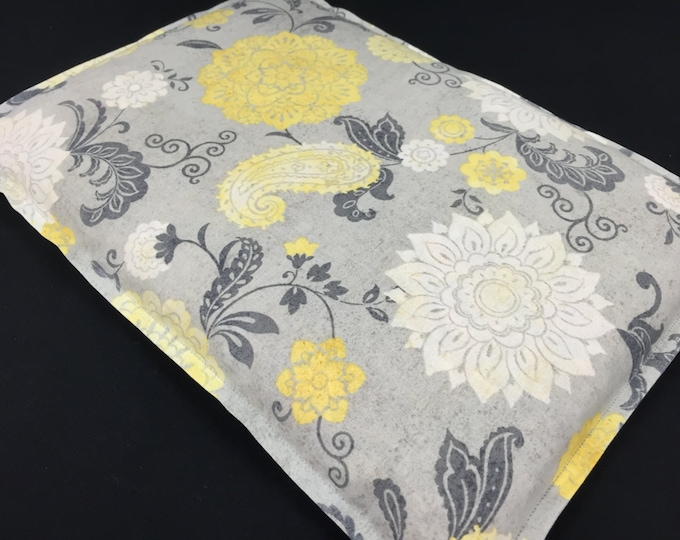 Corn Heating Pad, Large Corn Bag, Microwavable Heat Pack, Hot Cold Therapy, Massage Therapy, Bed Warmer - Gray Yellow Floral