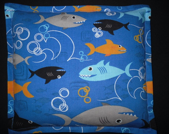 Corn Bag Heating Pad, Heat Pack, Microwavable Corn Pillow for Children - Shark Fabric