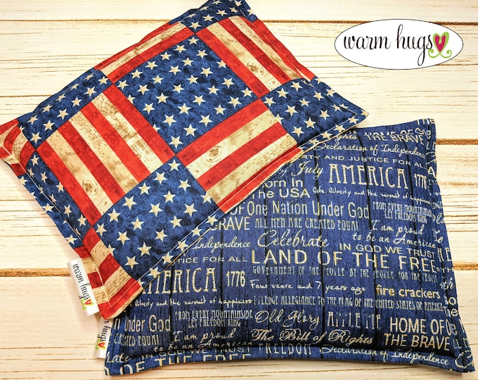 Warm Hugs Corn Filled Hot Cold Packs, Flag Gift Set, Microwave Heating Pad, Heated Bags, Host Gift Set of Two 7 x 9 Bags, Gifts for Him