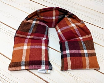 Warm Hugs XL Plaid Flannel Neck Heating Pad, Heated Neck Wrap, Microwave Heat Pack, Corn Bag, Hot Cold Therapy, Stress Relief, Neck Pain