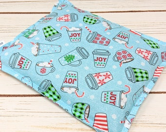 Microwave Corn Heating Pad, Holiday Coffee Gift 9 x 11 Warm Hugs Corn Bag, Heat Pack, Relaxation Gift, Muscle Pain, Bed Warmer