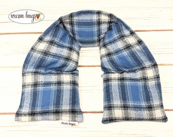 Warm Hugs XL Flannel Neck Heating Pad, Heated Neck Wrap, Relaxation Gift, Corn Bag, Heat Pack, Boyfriend Gift, Dorm Room, Dad Gift Blue Gray