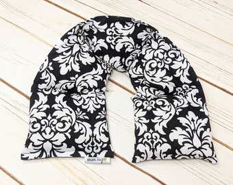 Warm Hugs Heated Neck Wraps, Microwave Corn Bags, Grief Sympathy Gift, Hot Cold Massage Therapy, Neck Warmer, Gift For Her - Black Damask
