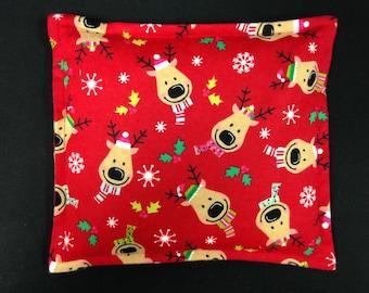 Flannel Corn Bag, Microwavable Heating Pad, Childrens Corn Bag, Corn Warmer, Reindeer Red Flannel Heat Pack, Secret Santa Gift