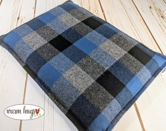 Large Flannel Warm Hug Microwave Heating Pad 10 x 14, Cabin Bed Warmer, Relaxation Gift, Hot or Cold, Gift For Him, Dorm Room, Corn Bag