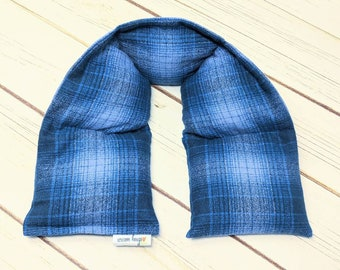 Warm Hugs Flannel Neck Heating Pad, Heated Neck Wrap, Relaxation Gift, Corn Bag, Heat Pack, Boyfriend Gift, Dorm Room, Dad Gift
