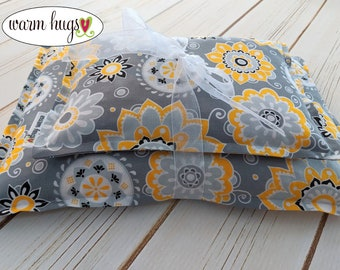 Corn Heating Pad Set, Corn Bag Heat Pack, Microwave Heating Pad, Ice Pack, Heat Therapy, Spa Gift for Her, Self Care, Gray Yellow Floral