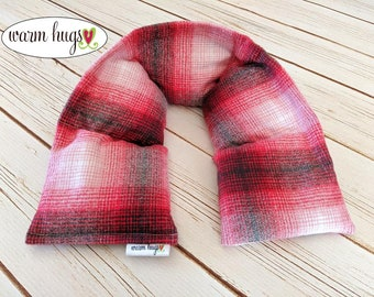 Warm Hug Flannel Microwave Heated Neck Wrap, Corn Bag Heating Pad, Stress Muscle Pain Relief, Get Well Gift, Thinking of You, Christmas Gift