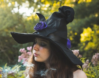 Gwendolyn the Witch Hat with Bat and Roses