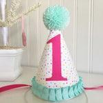 Pink and Aqua/ Mint pastel Polka dot Ruffled fabric party hat 1st birthday hat cake smash photo prop