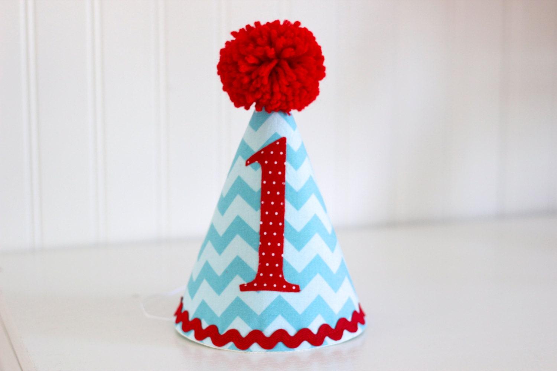 Aqua And Red Chevron Fabric Party Hat 1st Birthday Cake
