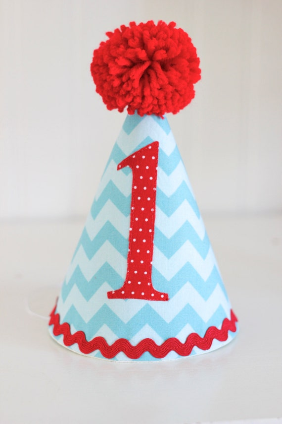 Aqua And Red Chevron Fabric Party Hat 1st Birthday Cake