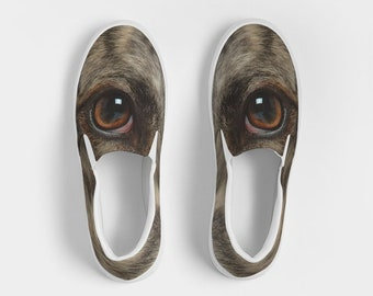 Woman's Canvas Slip-Ons, All About the Eyes Shoe #1