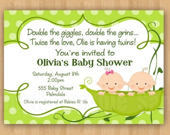 Two peas in a pod baby shower invitation etsy 25 printed two peas in a pod baby shower invitations with envelopes cute simply adorable twins filmwisefo
