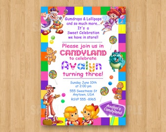 10 printed candyland invitations with envelopes candy theme girl birthday party personalized
