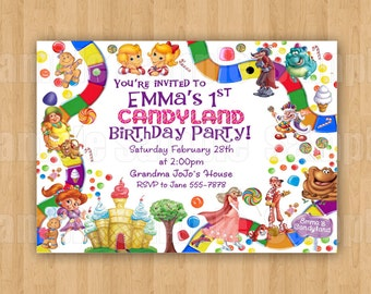candyland invitation digital file candy theme girls boys birthday party personalized