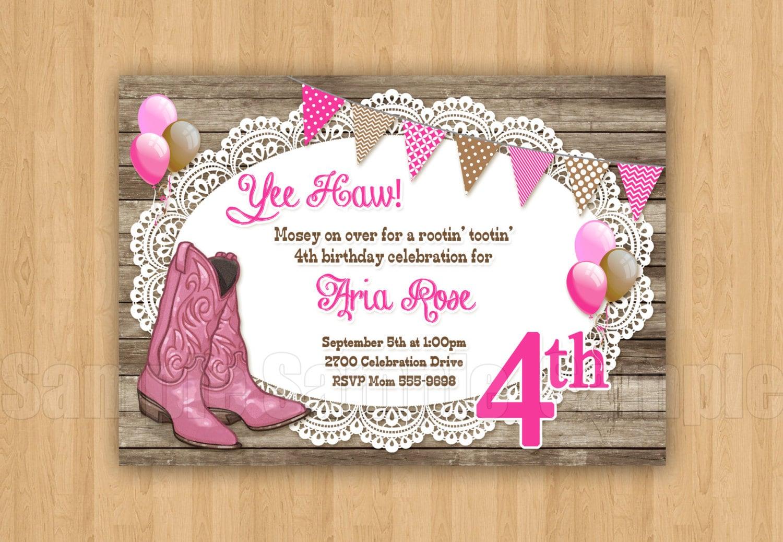 Rosa y marrón vaquera botas invitación personalizadas fiesta | Etsy