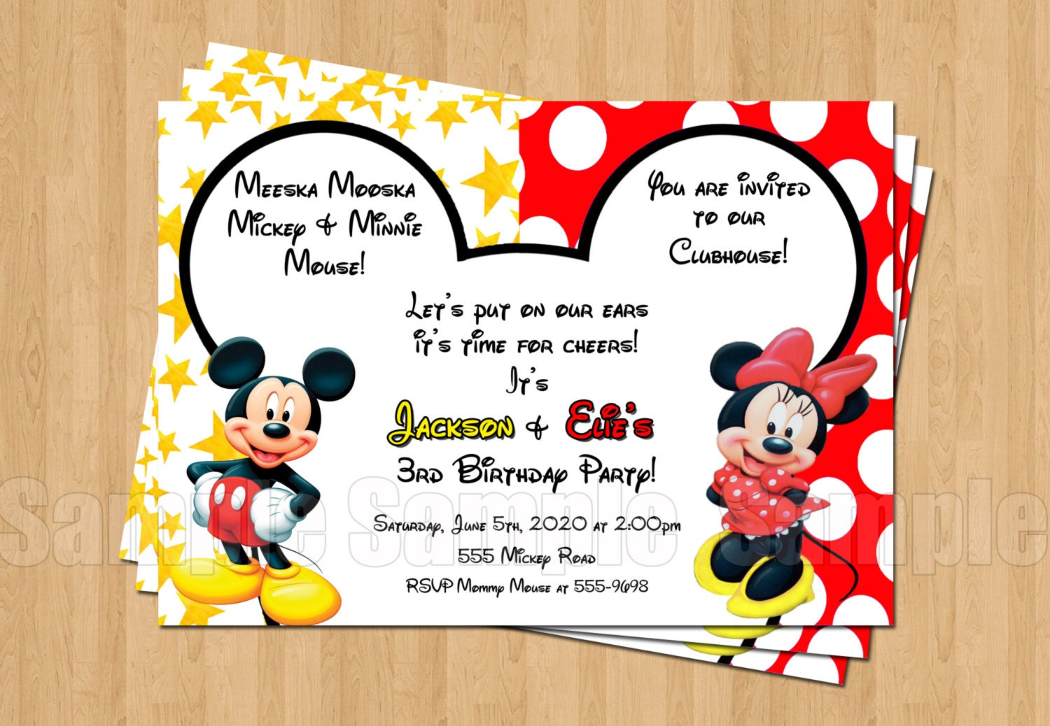 Mickey Minnie Mouse Twins Birthday Party Personalized Invitation