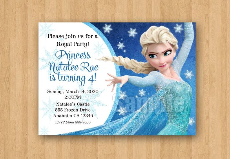 Frozen Theme Elsa Movie Birthday Party Personalized Invitation JPEG Cute Girl Unique Snowflakes