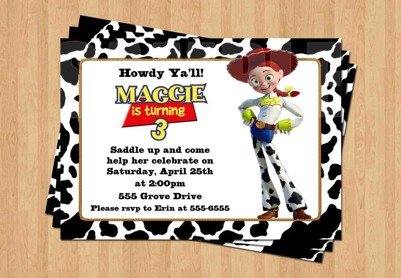 Jessie TOY STORY Birthday Party Personalized Invitation .JPEG | Etsy