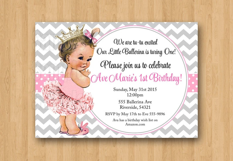 Vintage Baby Girl Ballerina Princess 1st Birthday Invitation Cute Unique Digital
