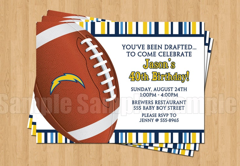 San Diego Chargers Football Birthday Party Invitations Sports Superbowl