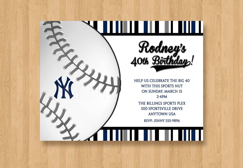 New York Yankees Invitation Baseball Birthday Bachelor Party   Etsy