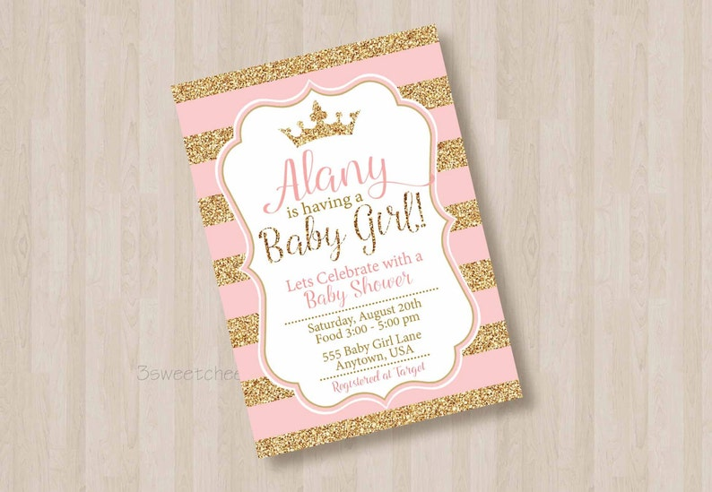Pink And Gold Glitter Princess Baby Shower 1st Birthday