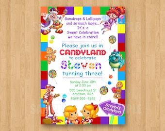 Candyland invitation Etsy