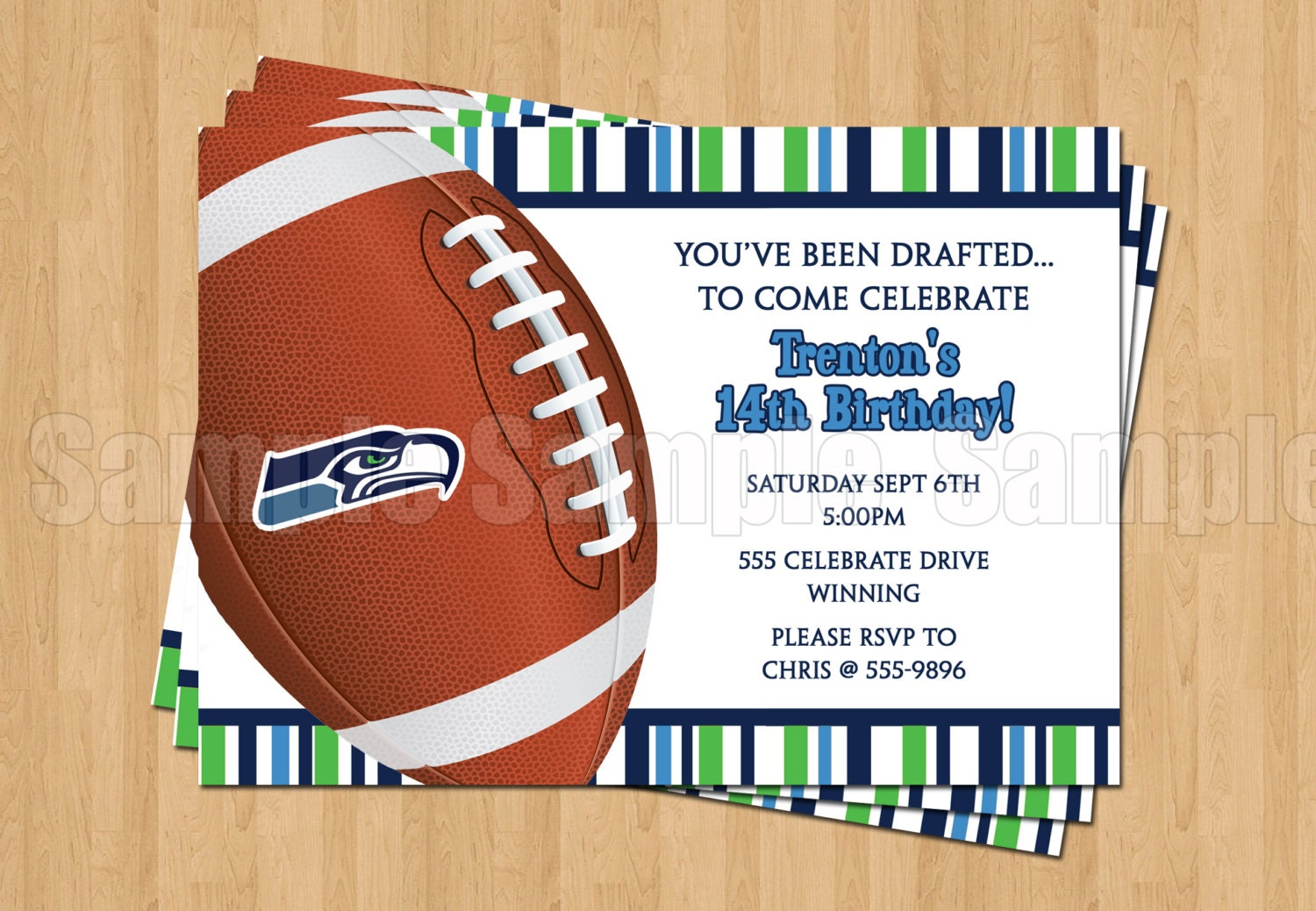 Seattle Seahawks Football Birthday Bachelor Party Invitations | Etsy