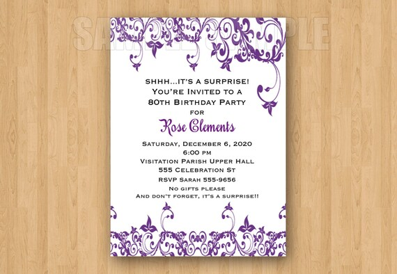 Elegant Adult Birthday Party Bridal Shower Personalized Invitation Jpeg File Any Color Any Age