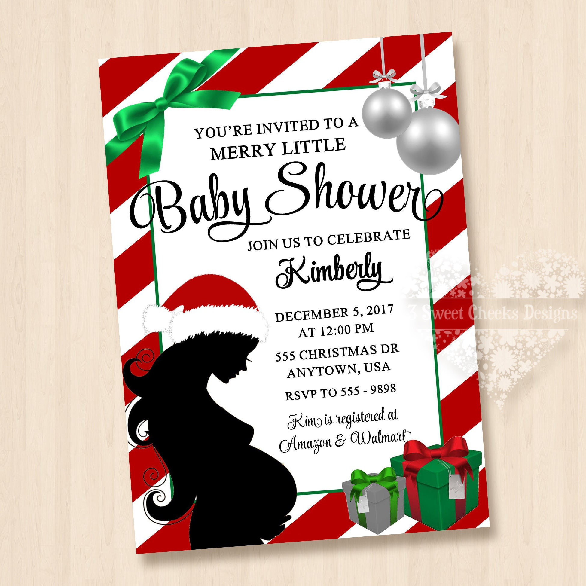 Christmas Baby Shower Invitation Digital Jpeg File Cute Simply | Etsy