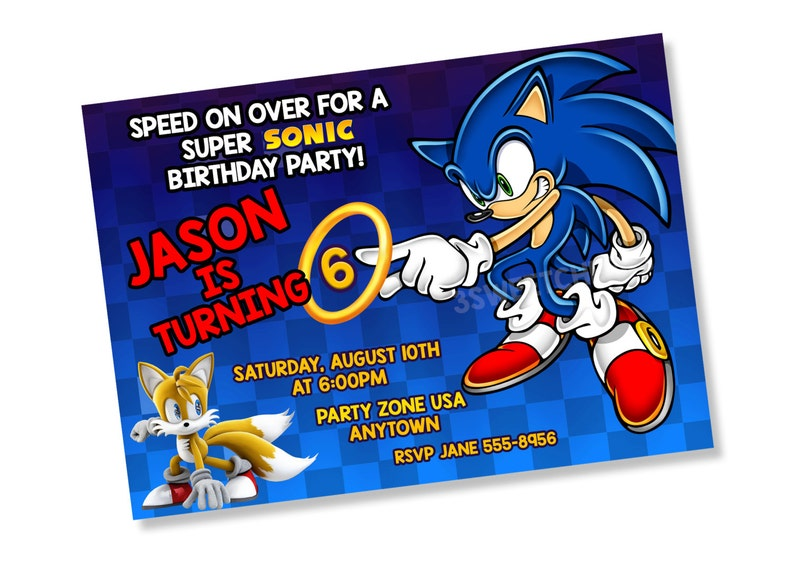 Sonic Birthday Party Invitation Digital Printable Personalized File Hedgehog Cool