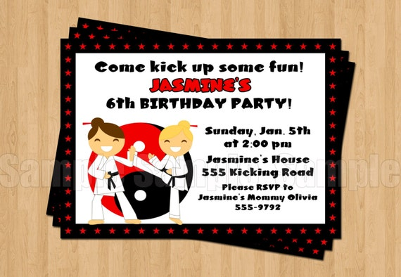 Karate Girls Birthday Party Personalized Invitation Digital