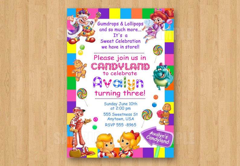 10 Printed Candyland Invitations With Envelopes Candy Theme Etsy