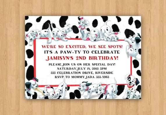 101 Dalmatians Birthday Party Personalized Invitation Jpeg Etsy