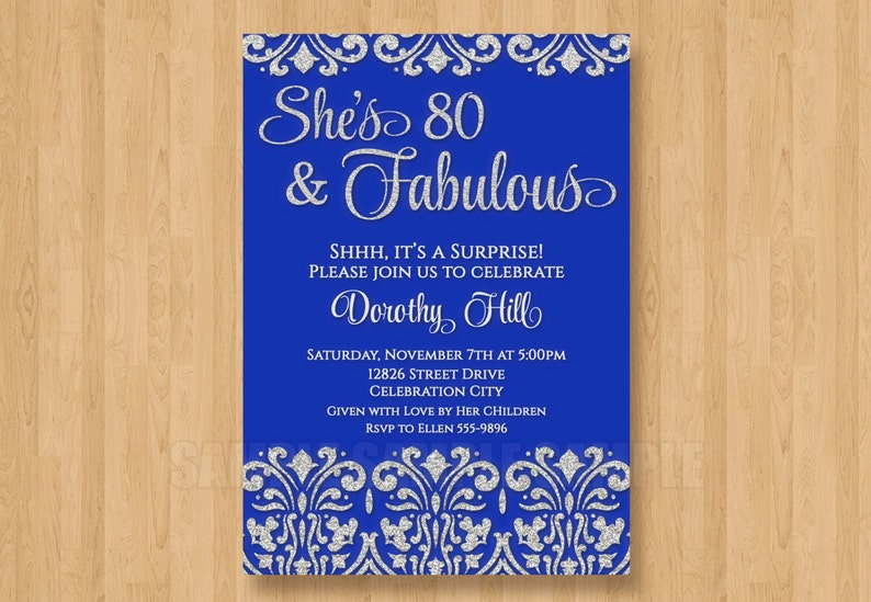 126243f92fd1 Royal Blue and Silver Glitter Bling Birthday Surprise Shower