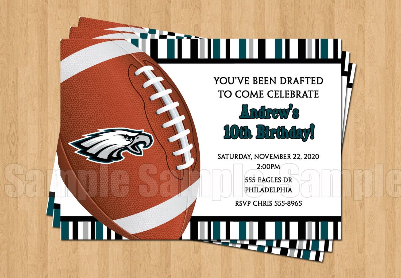 Philadelphia Eagles Football Birthday Party Invitation Sports | Etsy