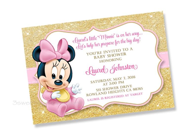 6d4b8cd5d Bebé Minnie Mouse rosa y oro Baby Shower 1 cumpleaños