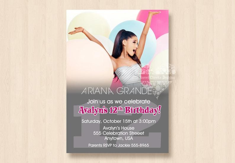Ariana Grande Geburtstag Party Einladung Digital Datei Alle Etsy