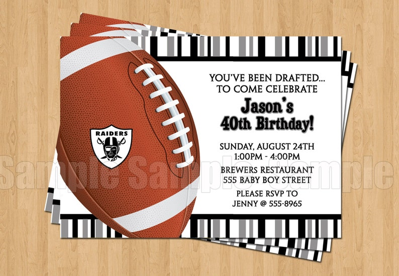 Oakland Raiders Football Birthday Bachelor Party Invitations Sports Superbowl